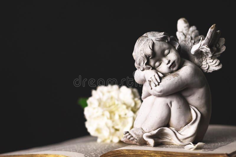 Ängel och vanlig hortensiablomma arkivbild