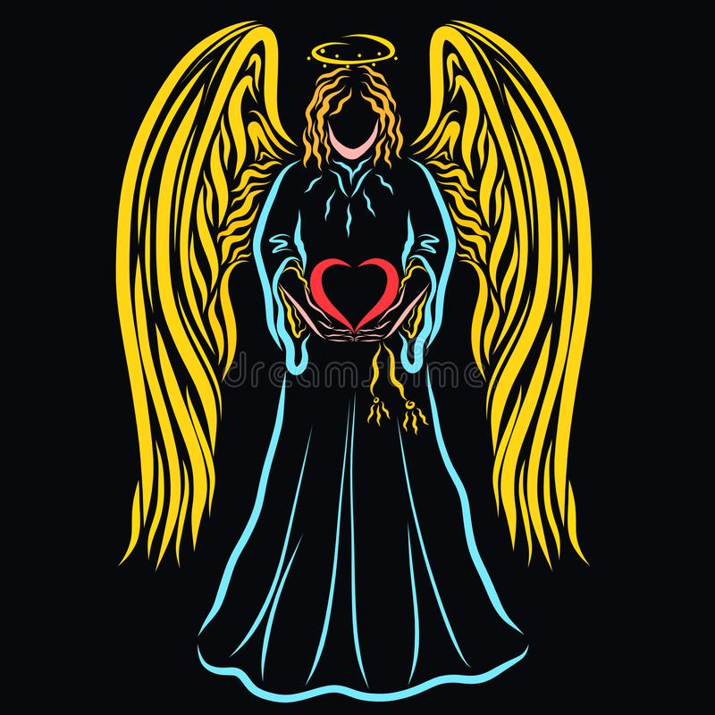 Ängel som rymmer försiktigt en hjärta i hans händer, förälskelse och läka stock illustrationer