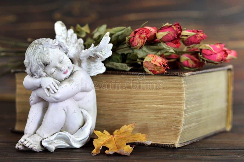 Ängel, torra rosor och gammal bok på träbakgrund arkivbild