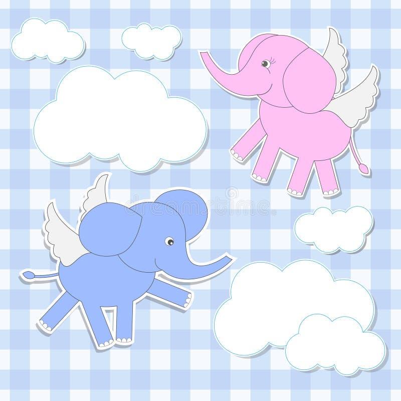 ängelelefanter stock illustrationer
