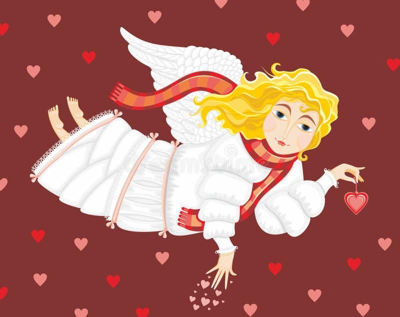 ängelhjärta stock illustrationer