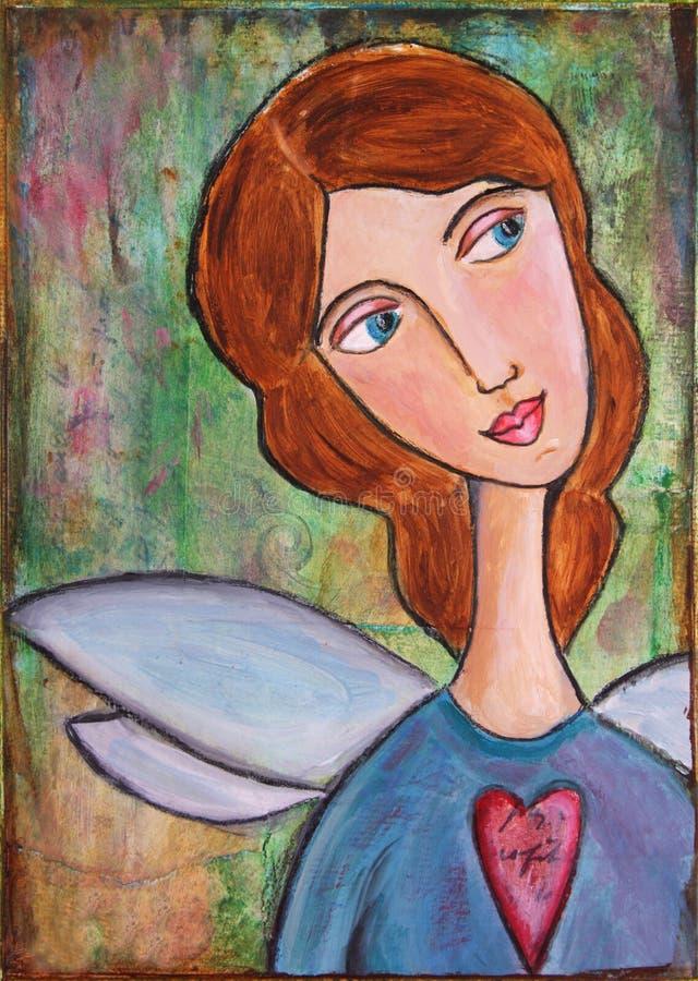 ängelhjärta royaltyfri illustrationer