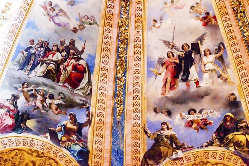 Ängelkonung Frescos Dome San Francisco el Grande Madrid Spain arkivbilder
