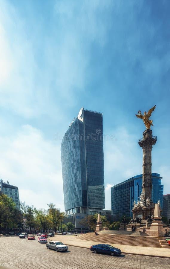 Ängelmonumentet till självständighet i Mexico DF Huvudstad landma royaltyfria bilder