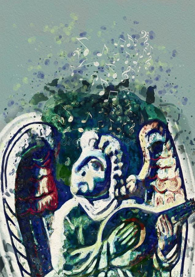 Ängelmusiker Samtida konst stock illustrationer