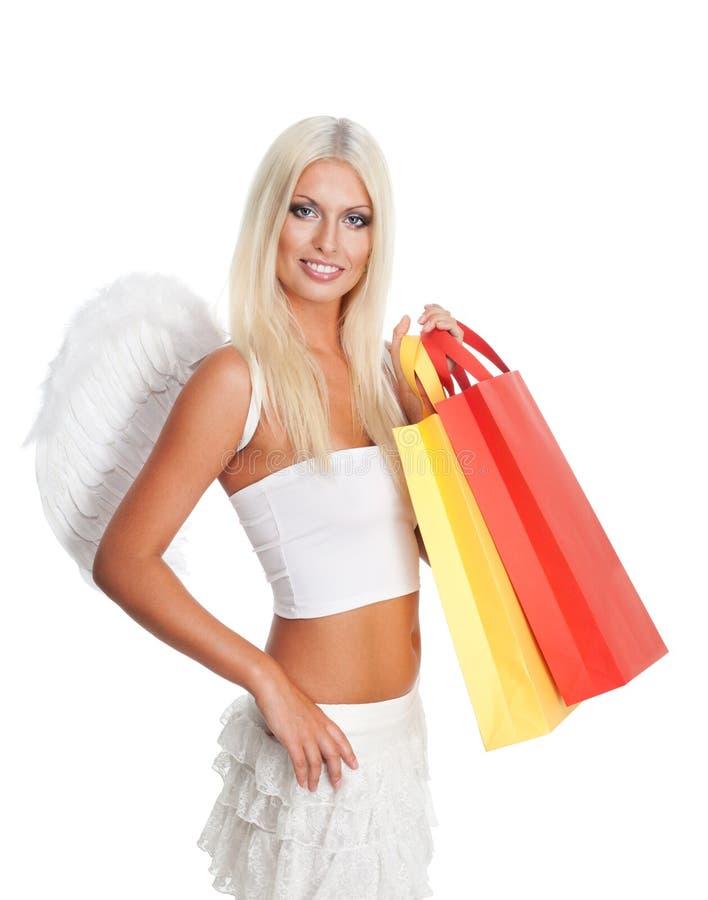 ängeln bags shoppingkvinnan royaltyfri bild