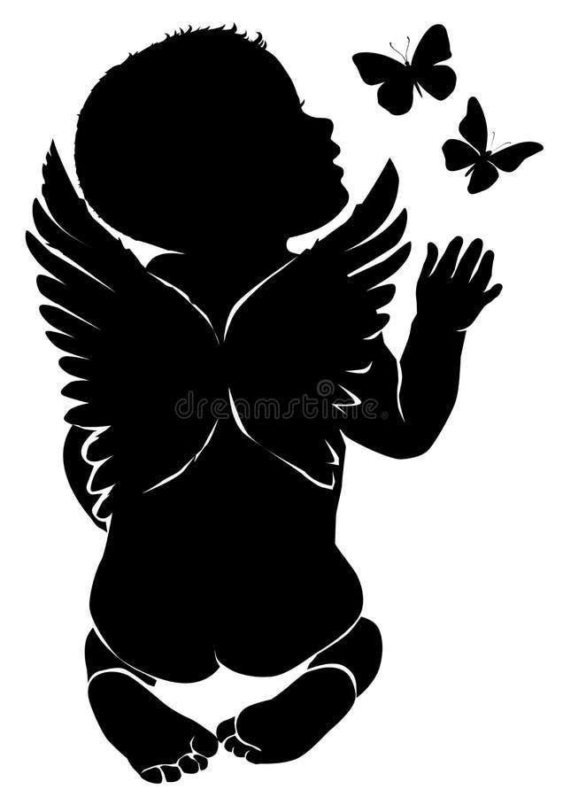 Ängeln behandla som ett barn med fjärilar stock illustrationer