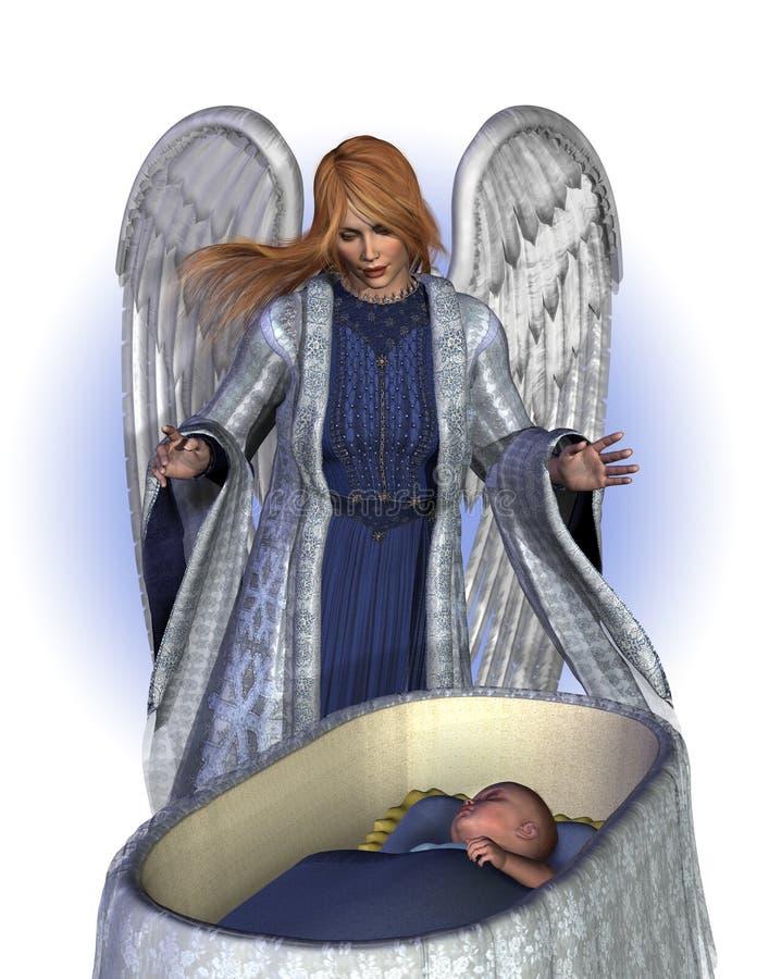 ängeln behandla som ett barn välsignelse royaltyfri illustrationer