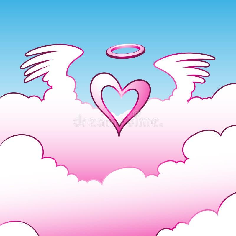 ängeln clouds hjärta över royaltyfri illustrationer