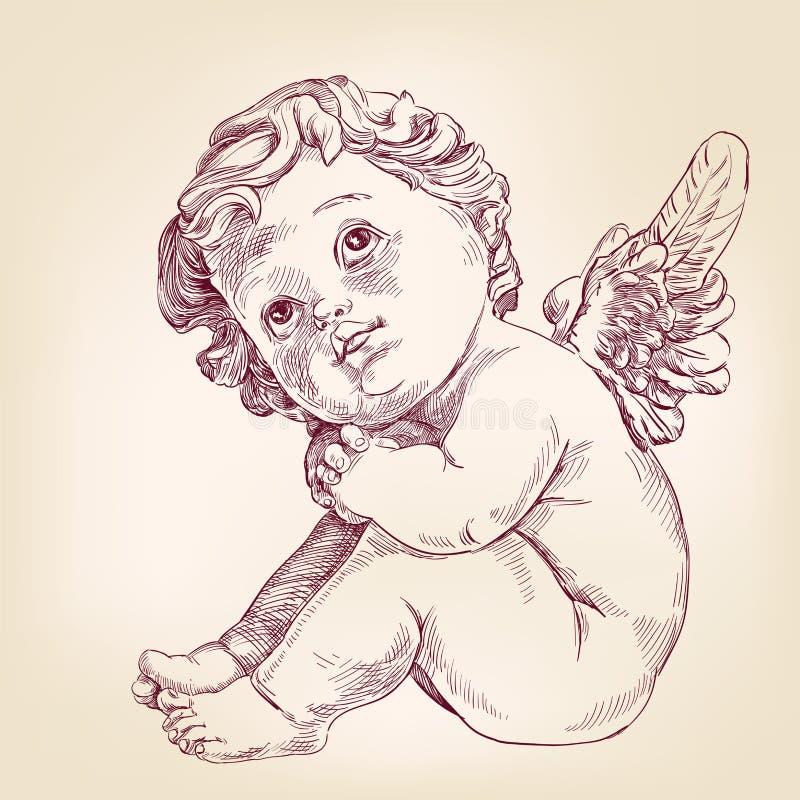 Ängeln eller kupidonet behandla som ett barn lite l handen dragen vektor stock illustrationer