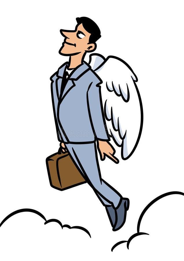 Ängeln för affärsmanbrunettleendet flyger himmel stock illustrationer