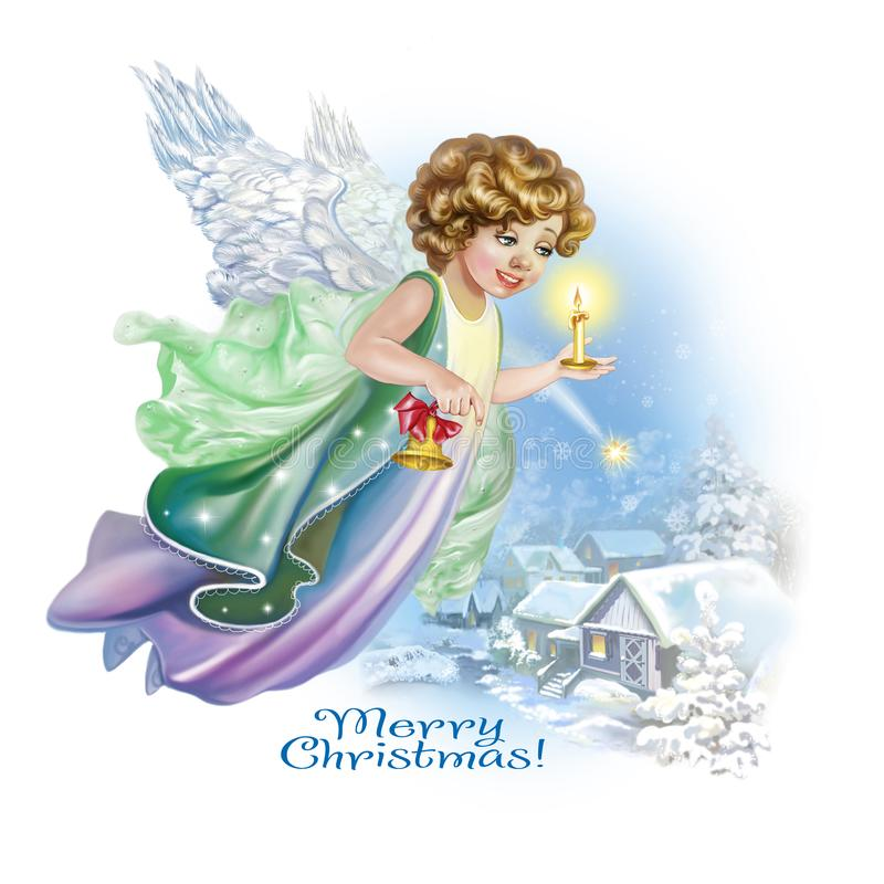Ängeln flyger i himlen med en klocka och stearinljus vektor illustrationer