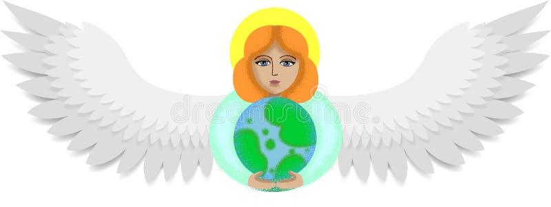 Ängeln rymmer jorden stock illustrationer