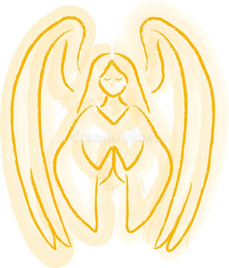 ängeln skissar royaltyfri illustrationer
