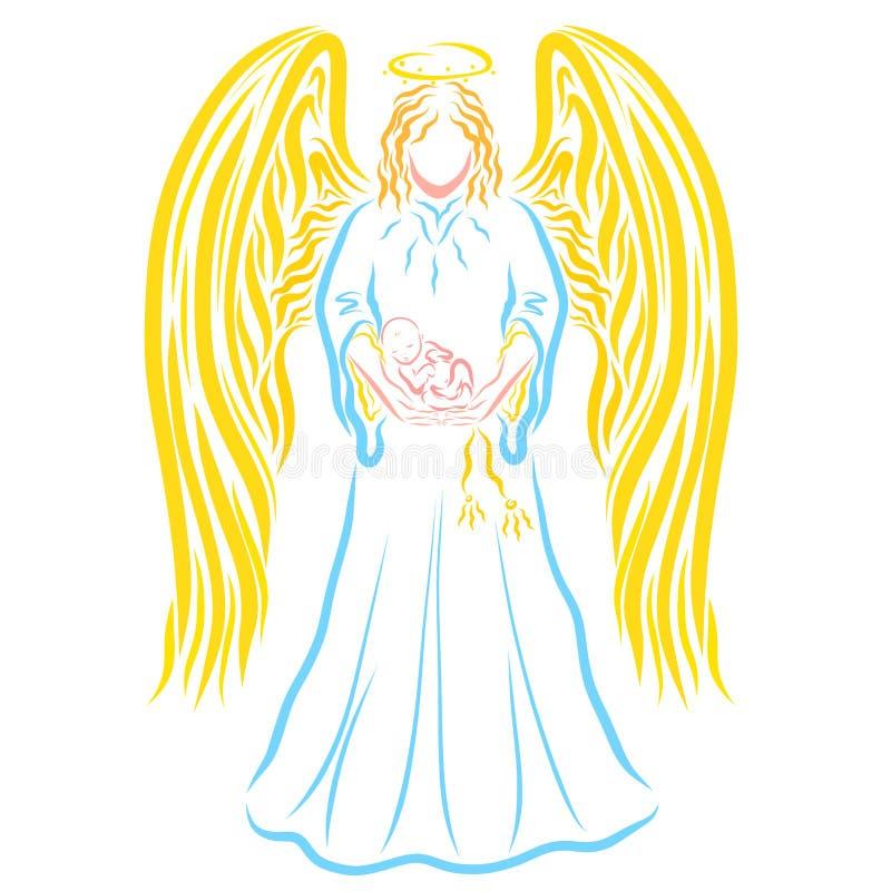 Ängeln som rymmer sova nyfött, behandla som ett barn i hans armar, färgrik patt royaltyfri illustrationer