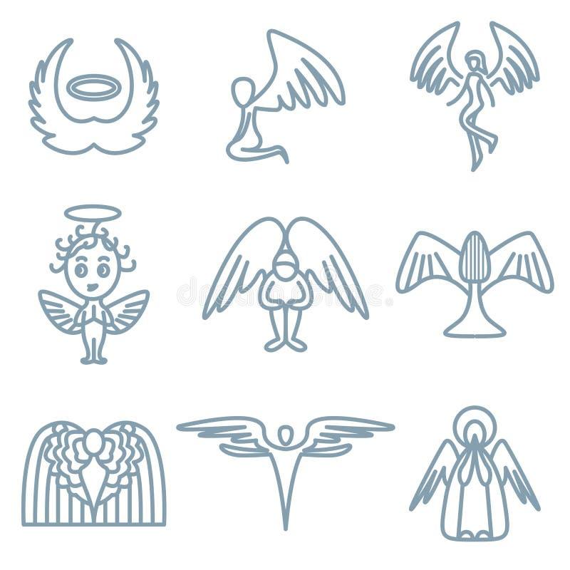ängelvälgörenhetsymboler vektor illustrationer