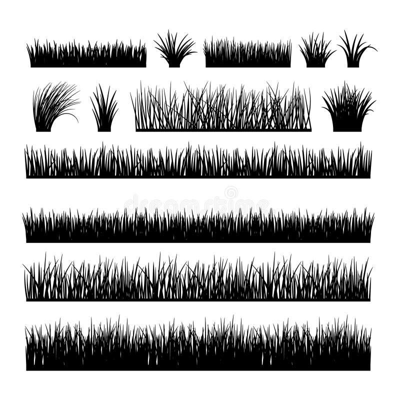 Ängkonturuppsättning för horisontalbaner royaltyfri illustrationer