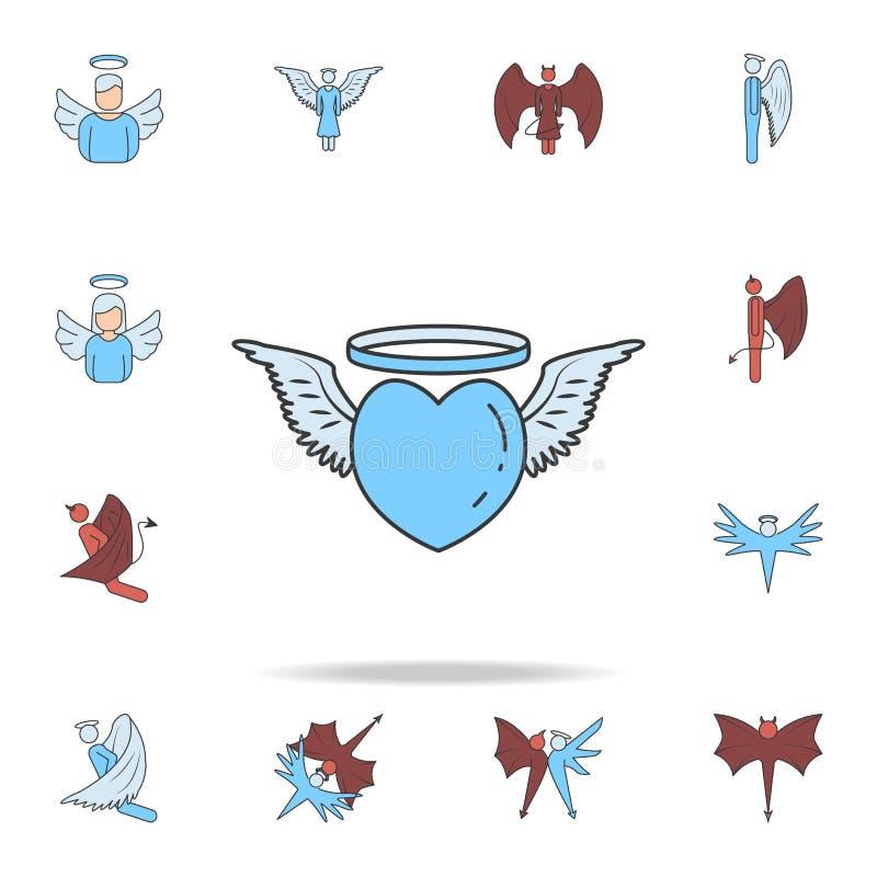 änglalik symbol för översikt för hjärtafärgfält Detaljerad uppsättning av ängel- och demonsymboler Högvärdig grafisk design En av royaltyfri illustrationer