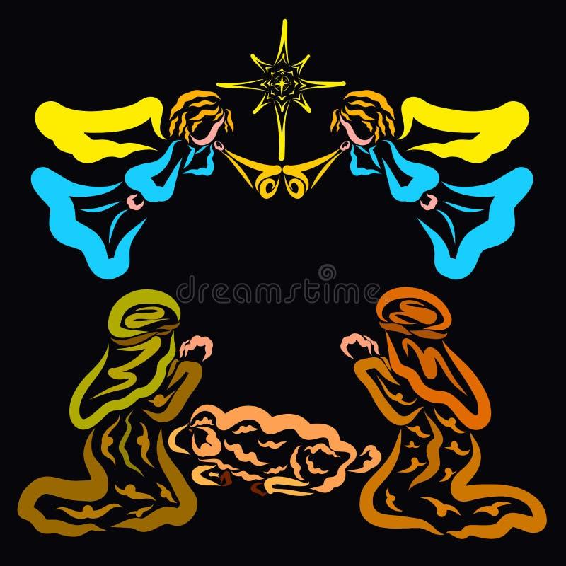 Änglar berättar herdarna om födelsen av frälsaren royaltyfri illustrationer