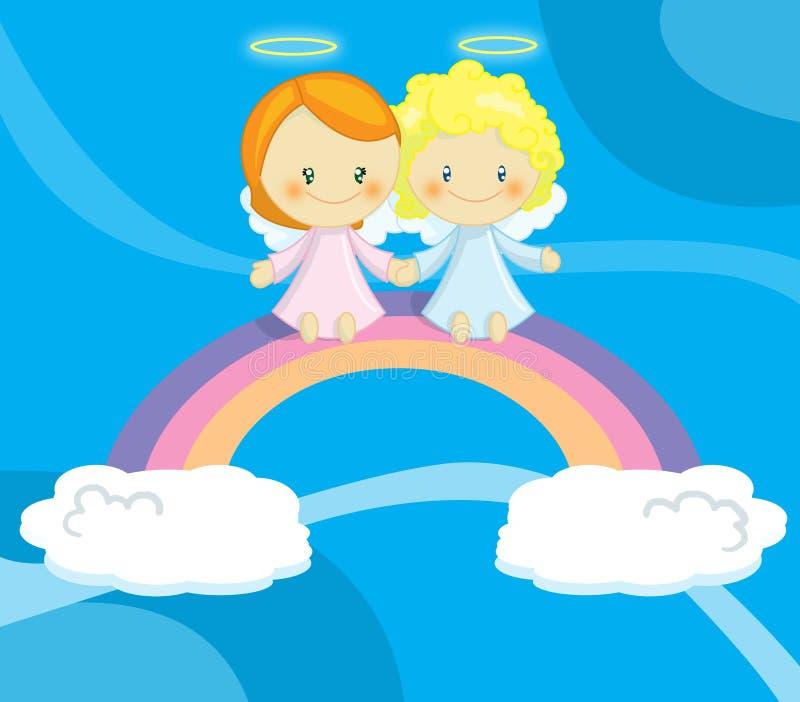 änglar förbunde gulligt little royaltyfri illustrationer