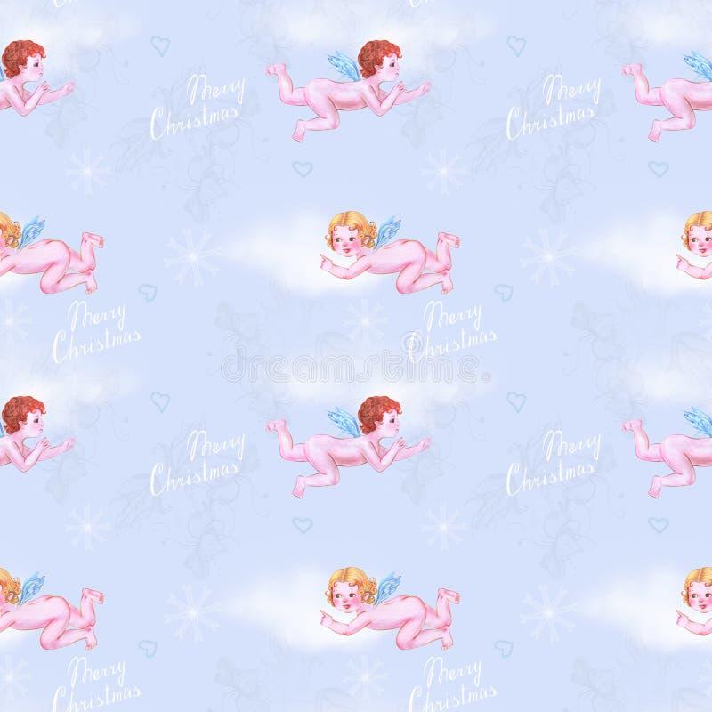 Änglar i blå himmel royaltyfri illustrationer