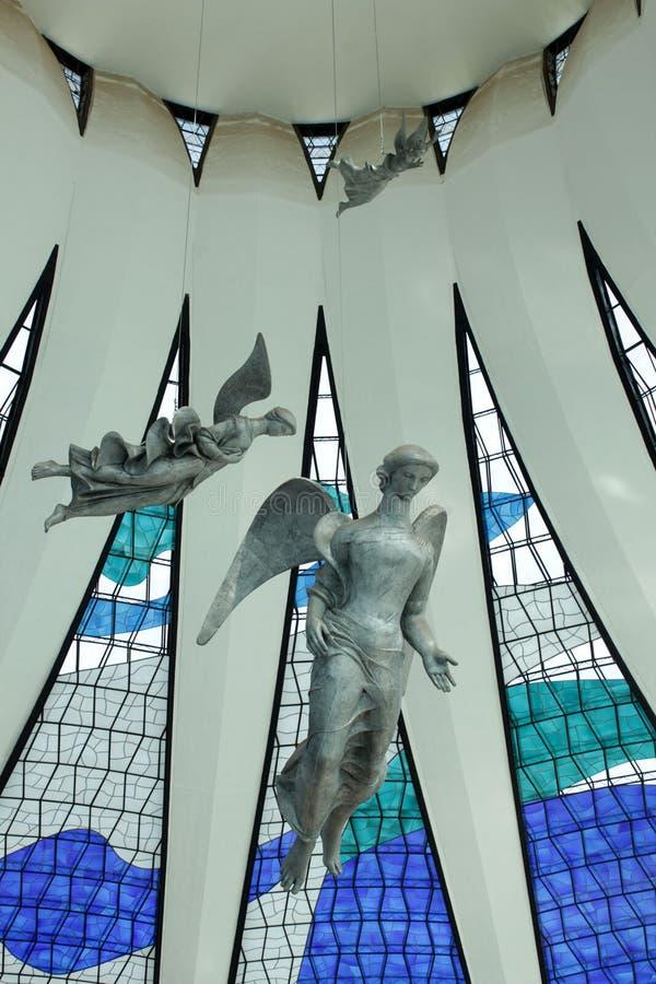 Änglar i den Brasilia domkyrkan - Brasilien royaltyfri fotografi