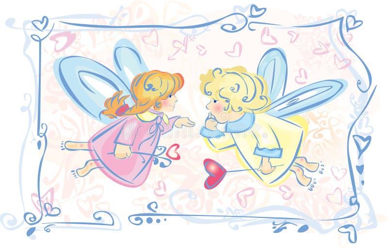 änglar little stock illustrationer