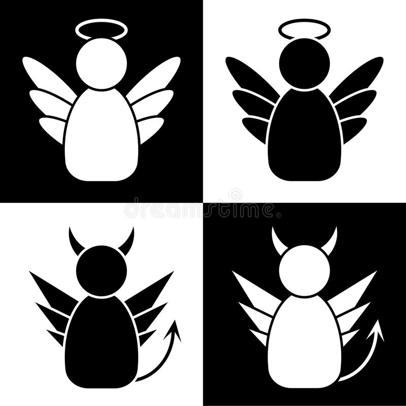 Änglar och demoner stock illustrationer