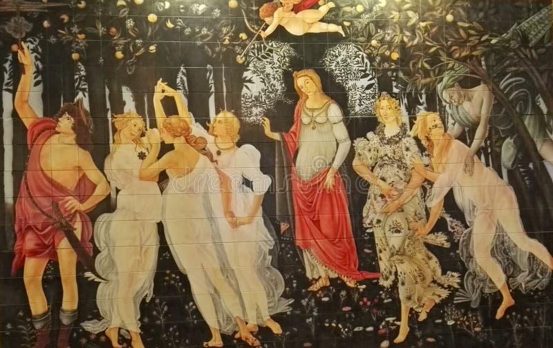Änglar och demoner, grekiska gudar i konstverk stock illustrationer
