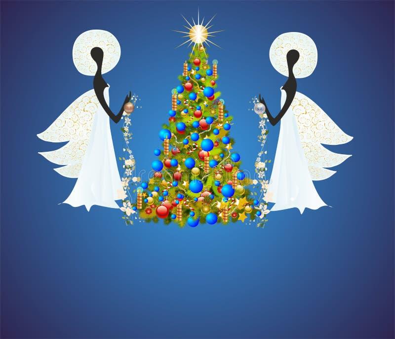 Änglar och julgran vektor illustrationer