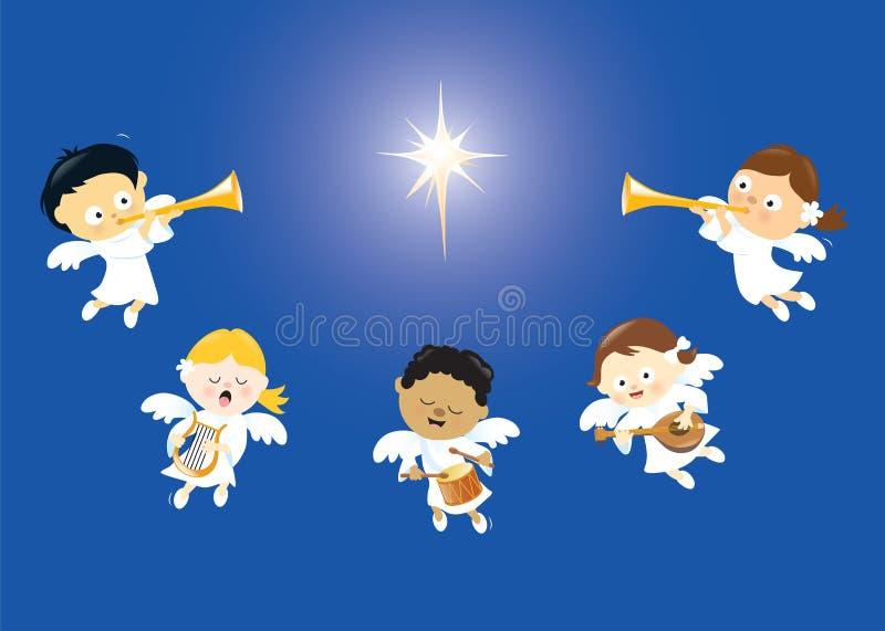 Änglar som sjunger och spelar instrument royaltyfri illustrationer