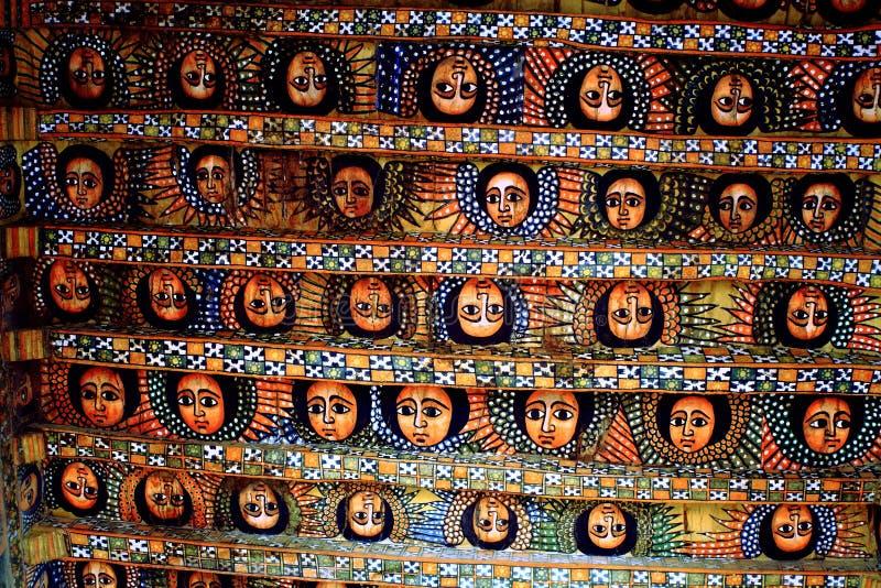 Änglarna av den Debre Birhan Selassie kyrkan, Etiopien, East Africa arkivfoto