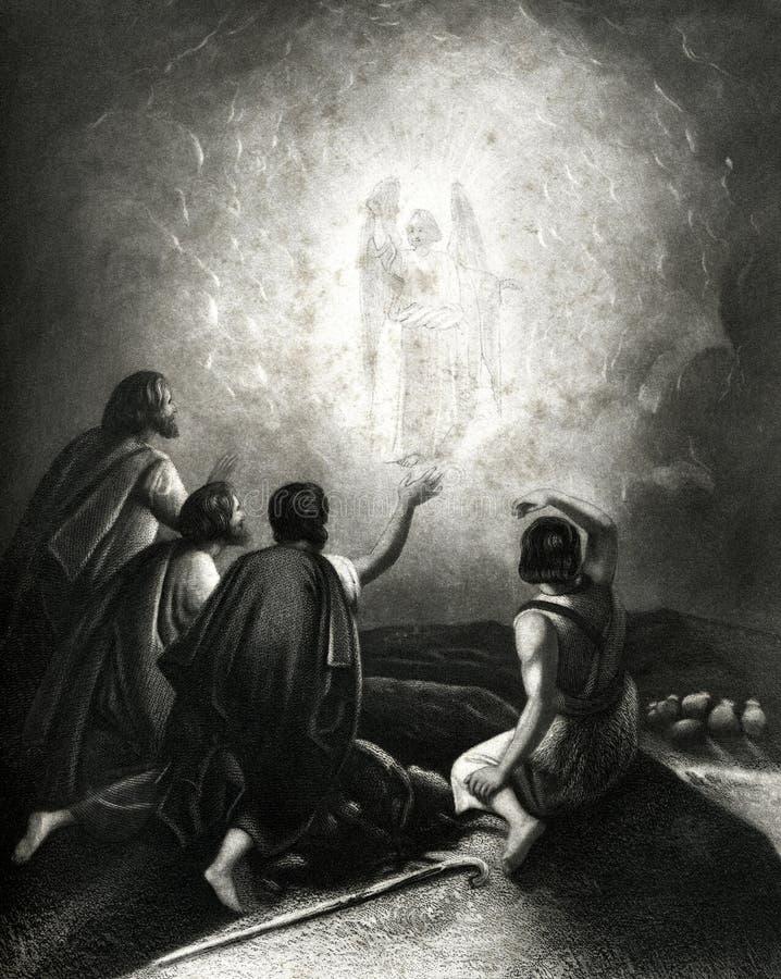 Änglarna som visas till den antika illustrationen för herdar royaltyfri illustrationer