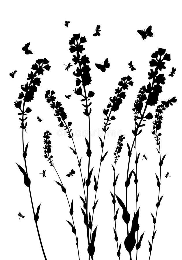 ängsilhouettes vektor illustrationer