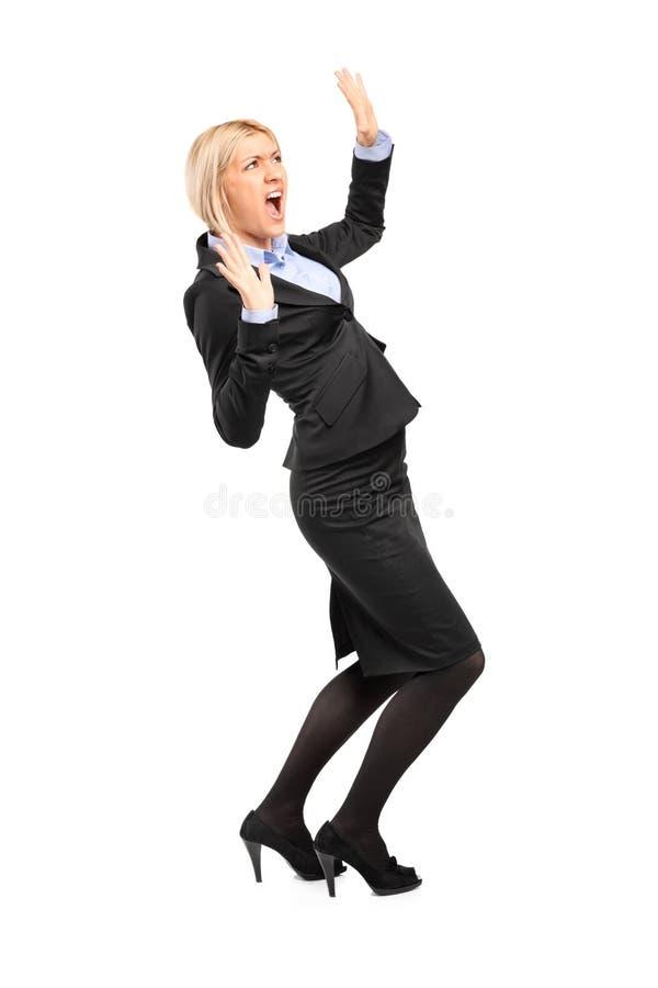 Ängstlich junge Geschäftsfrau lizenzfreies stockfoto