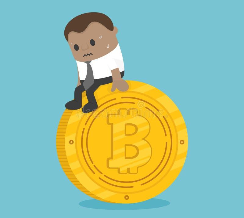 Ängstlich vom afrikanischen Geschäft, sitzend auf einer Münze mit Krise stock abbildung