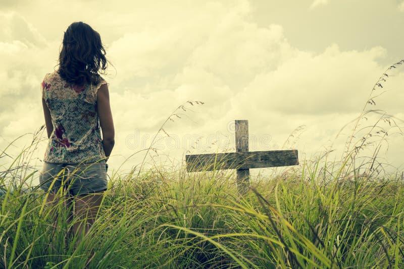 Änka på sorgen arkivfoton