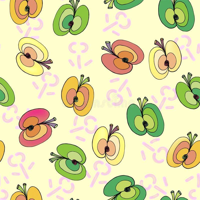 Äpfel auf nahtlosem Muster des Blumenhintergrundes lizenzfreie abbildung
