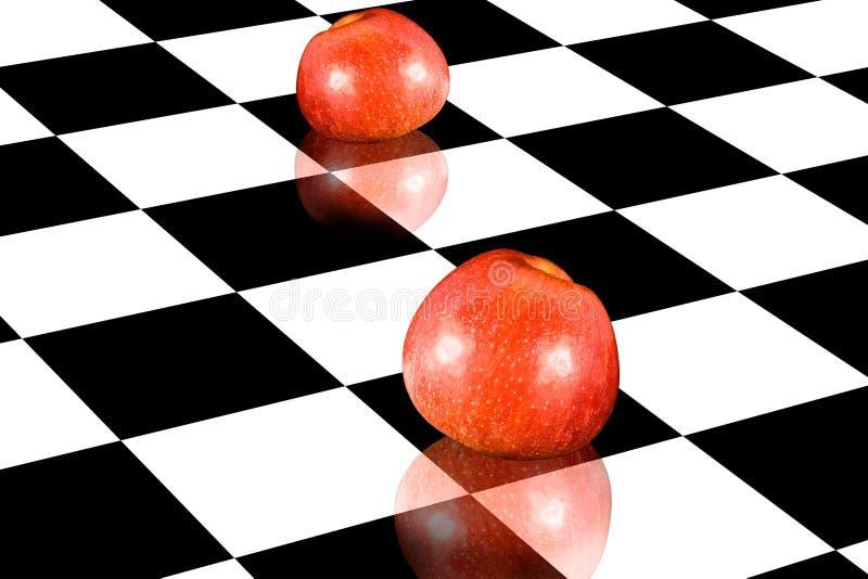 Äpfel auf Schachbrett stock abbildung