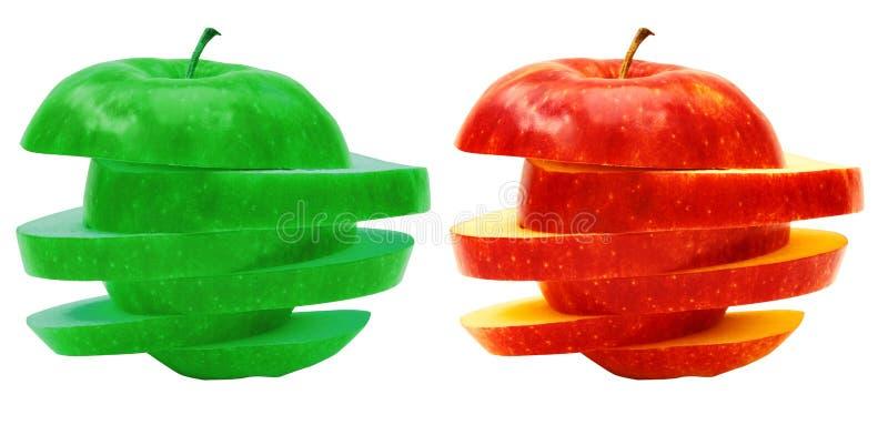 Äpfel geschnittene Abschnitte Frucht lokalisiert auf weißem Hintergrund lizenzfreie stockfotos