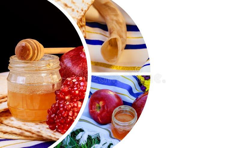 Äpfel, Granatapfel und Honig für Shofar Rosh Hashanah und traditionelles Lebensmittel tallit Copyspace-Hintergrundes jüdischen ne stockbilder