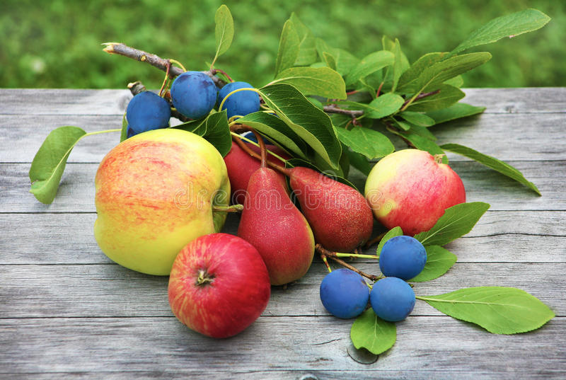 Äpfel, Kirschen, Birne stockfotos