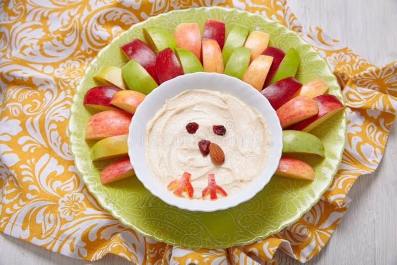 Äpfel mit Frischkäsebad des Karamells stockbild