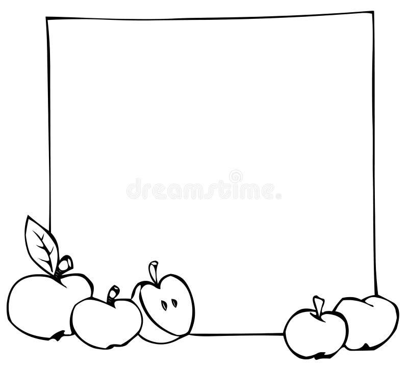 Äpfel und Fahne lizenzfreie abbildung