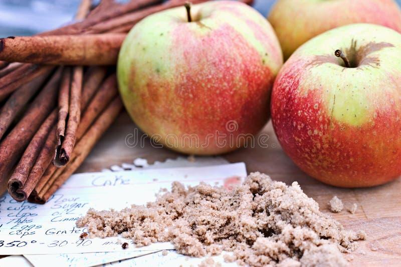 Äpfel und Gewürz stockbilder