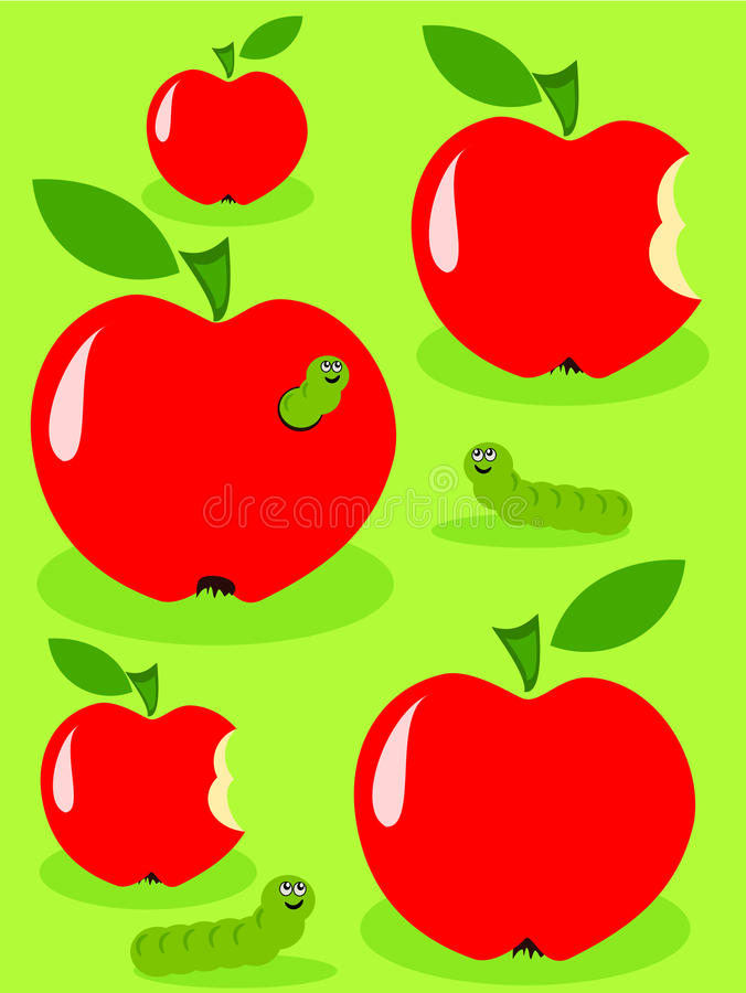 Äpfel und Gleiskettenfahrzeug stock abbildung