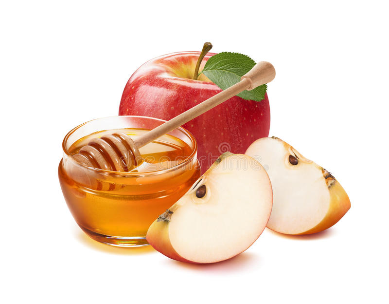 Äpfel und Honig rüttelt für jüdisches neues Jahr lizenzfreie stockfotografie