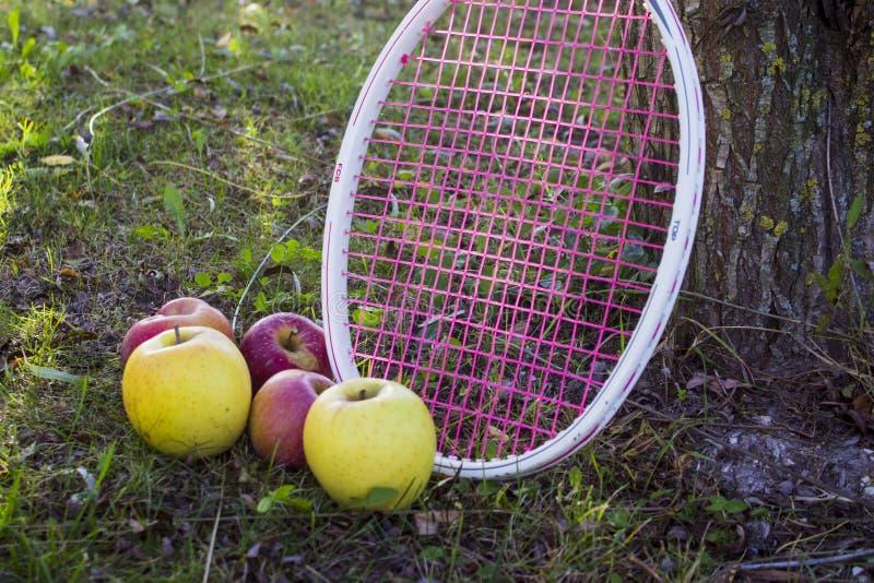 Äpfel und Trauben stockfoto