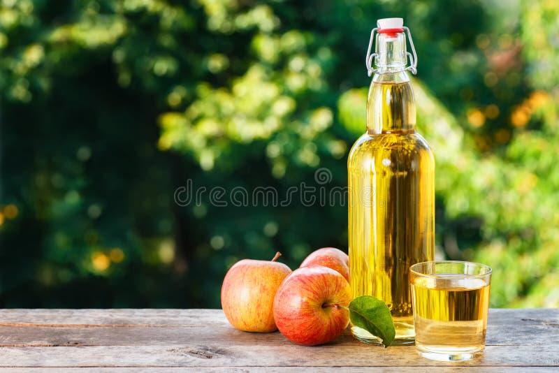 Äppelcider i glasflaska arkivfoton