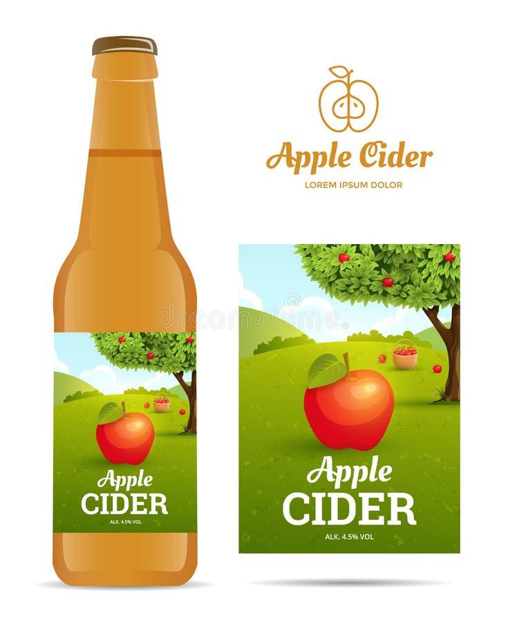 Äppelciderklistermärke royaltyfri illustrationer